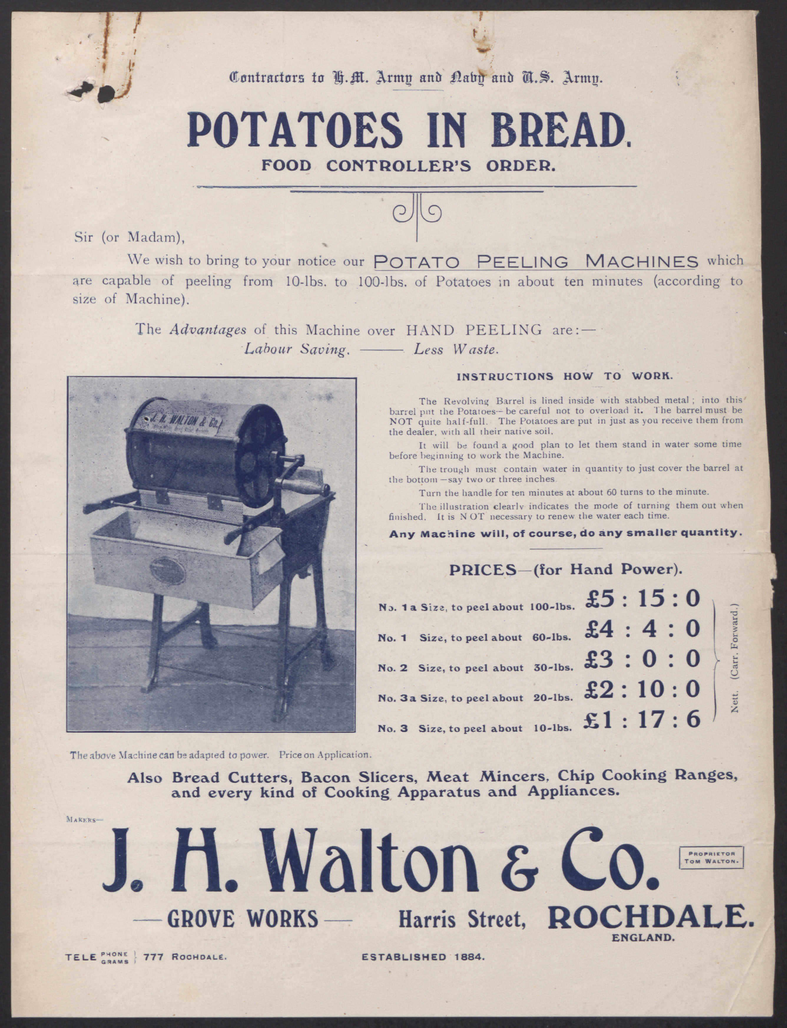 J.H. Walton & Co. Potato Peeling Machine © Images including crown copyright images reproduced by courtesy of The National Archives, London, England. www.nationalarchives.gov.uk