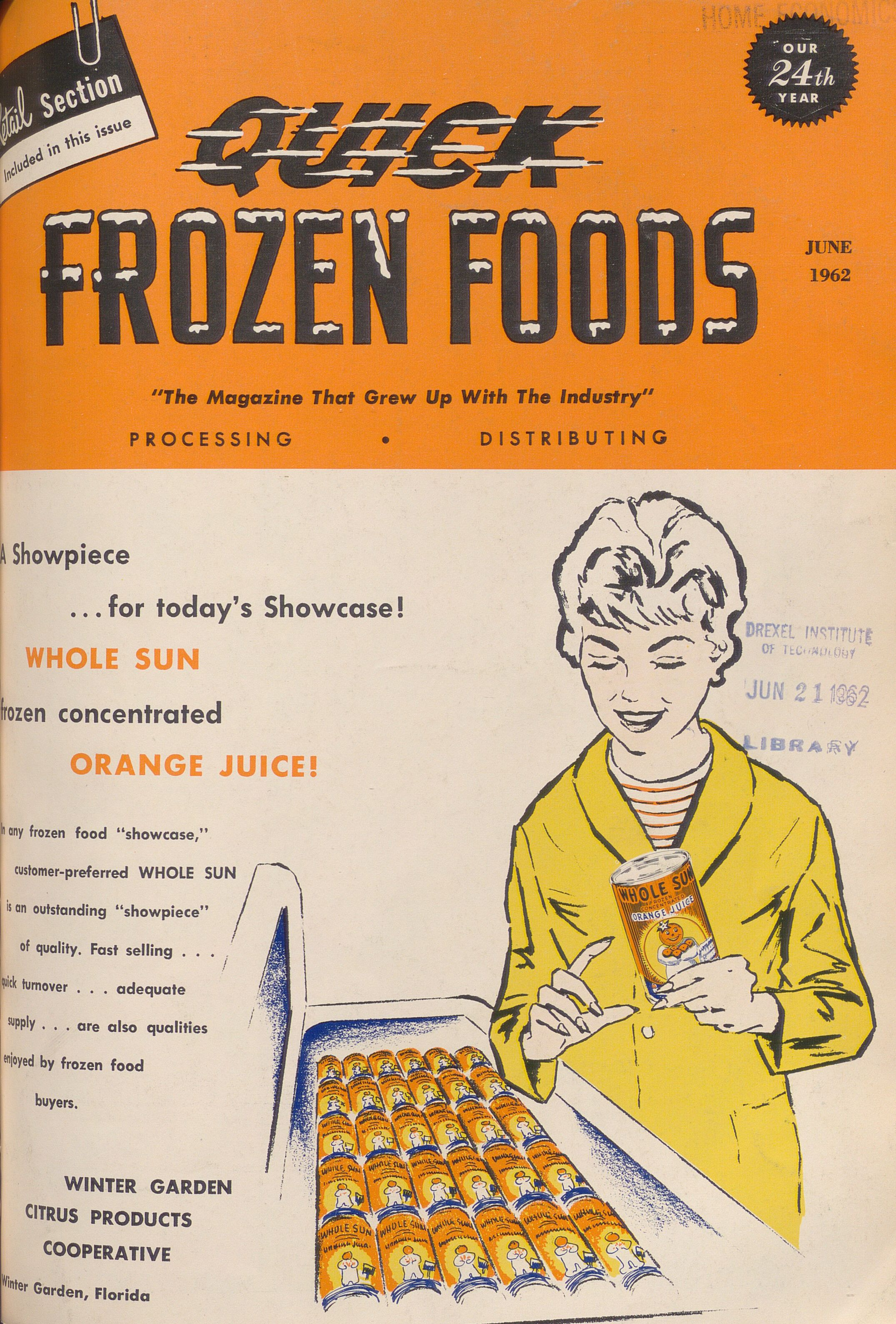 Front cover of Quick Frozen Foods, 1962. Content compilation © 2019, by the Hagley Museum & Library. All rights reserved.