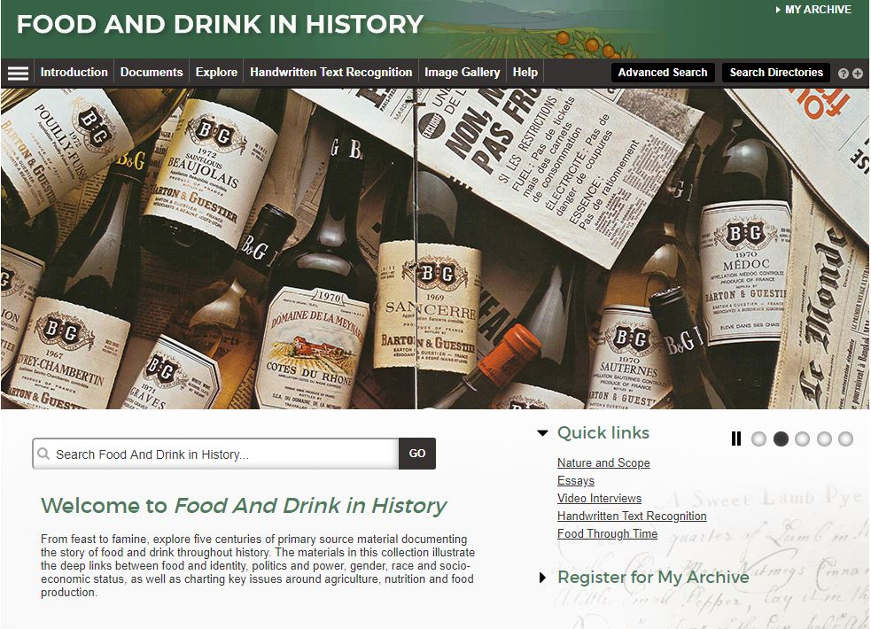 Food and Drink in History homepage