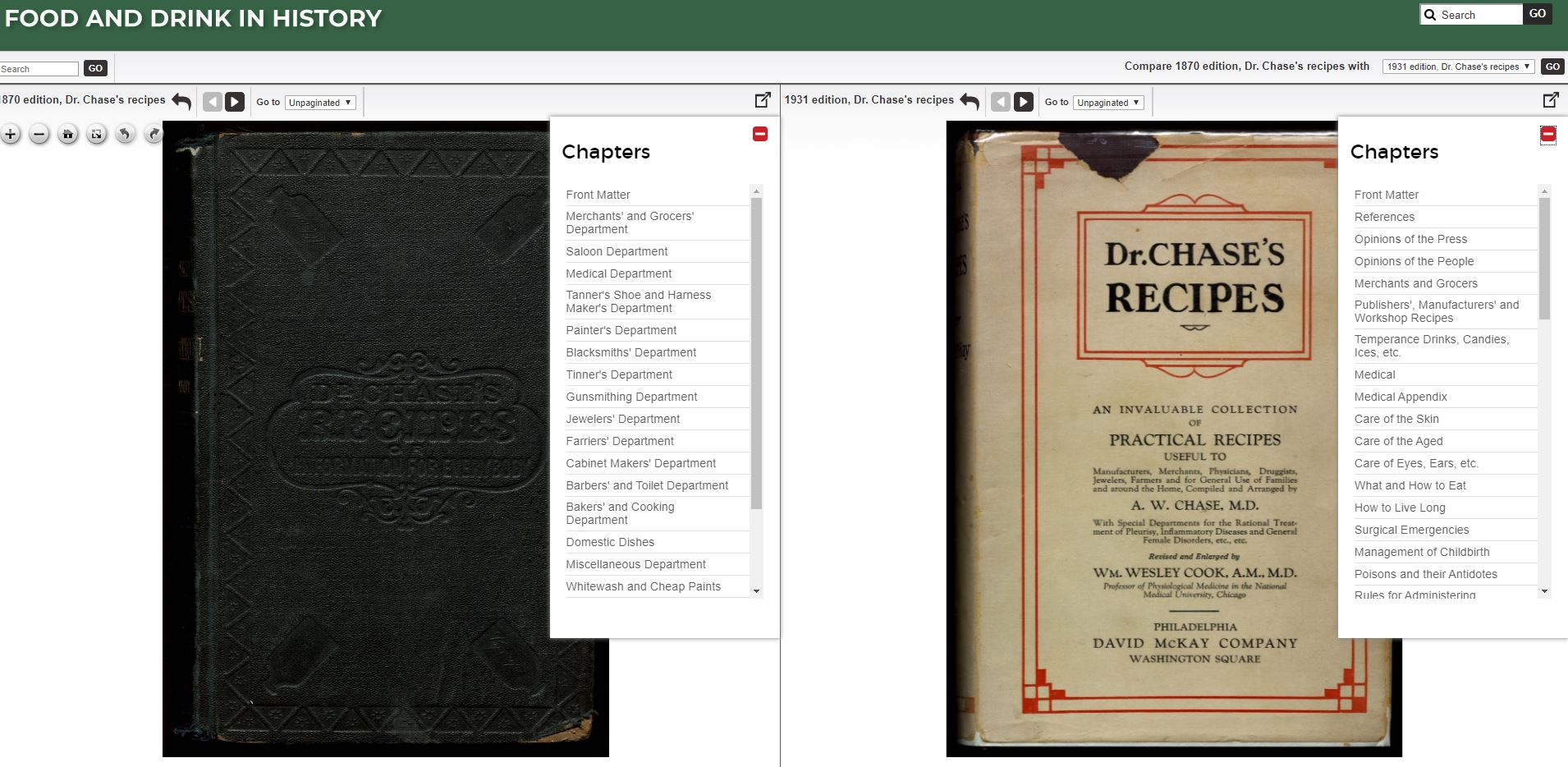 A multiple edition cookbook in the split-screen image viewer